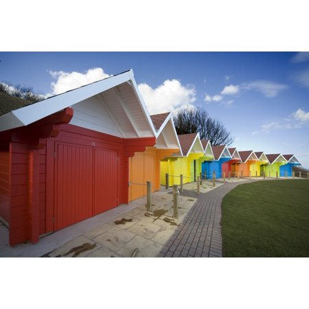 Colorful Beach Huts Scarborough North Yorkshire England Stretched Canvas - John Short  Design Pics (18 x (Beach Huts Scarborough)