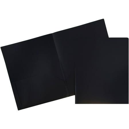 JAM Paper Plastic Eco Two Pocket Presentaion Folder, Black, 96/pack - Plastic Folders