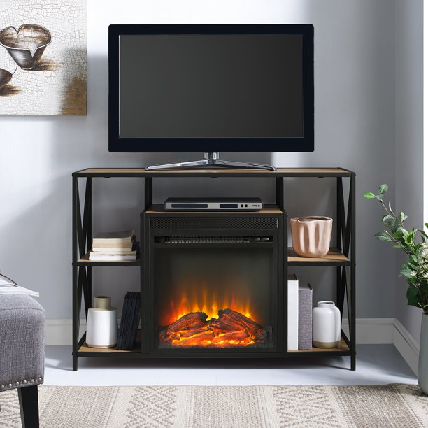 """Manor Park Industrial Fireplace TV Stand for TVs up to 44"""" - Barnwood"""