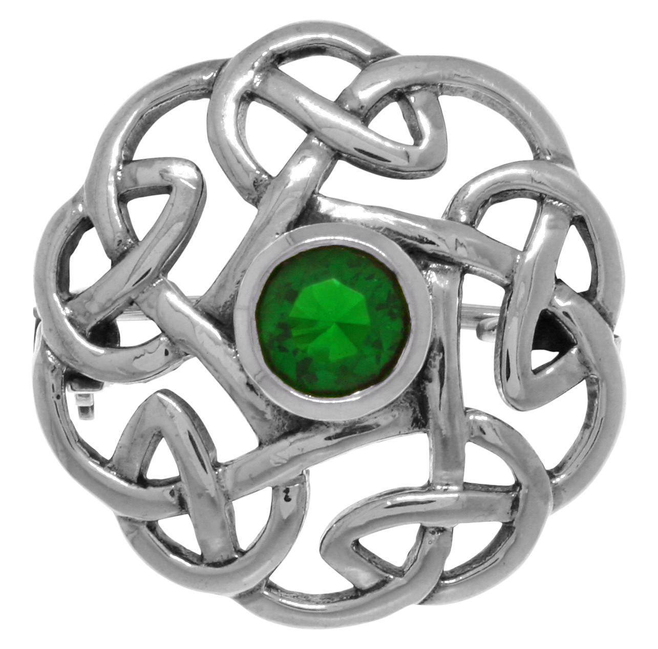 Jewelry Trends Sterling Silver Round Celtic Thistle Brooch Pin with Green Glass by