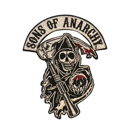Mens Sons Of Anarchy Reaper Patch Black White One Size  New Embroidered Iron On Patch  By Changes