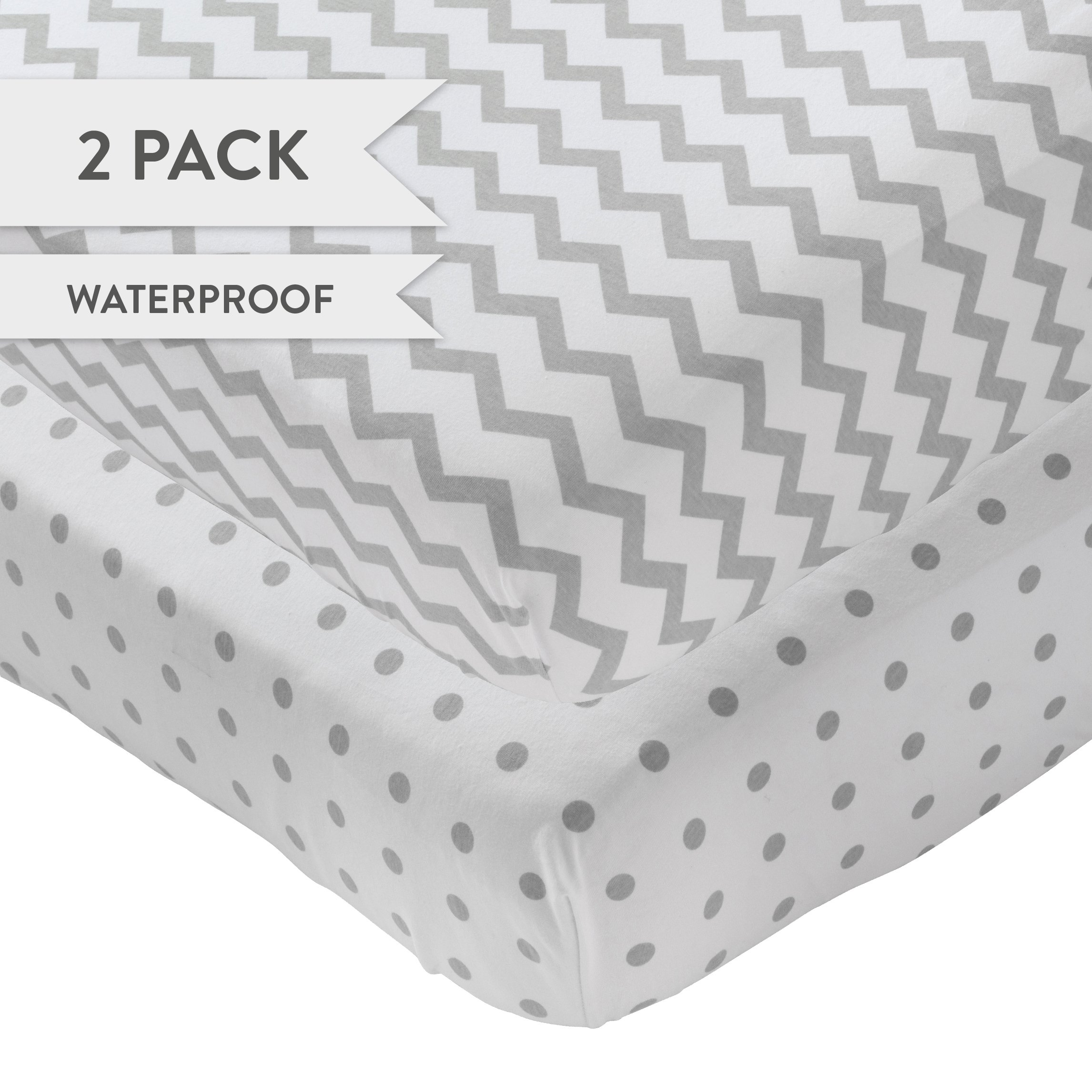 Waterproof Crib Sheet - No need for Mattress Pad Cover -2 Pack Grey Chevron and Polka Dot