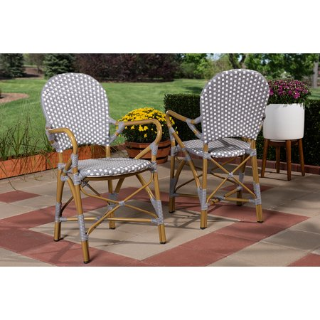 Set of 2 Baxton Studio Seva Classic French Indoor and Outdoor Beige and Red Bamboo Style Stackable Bistro Dining Chair Set ()