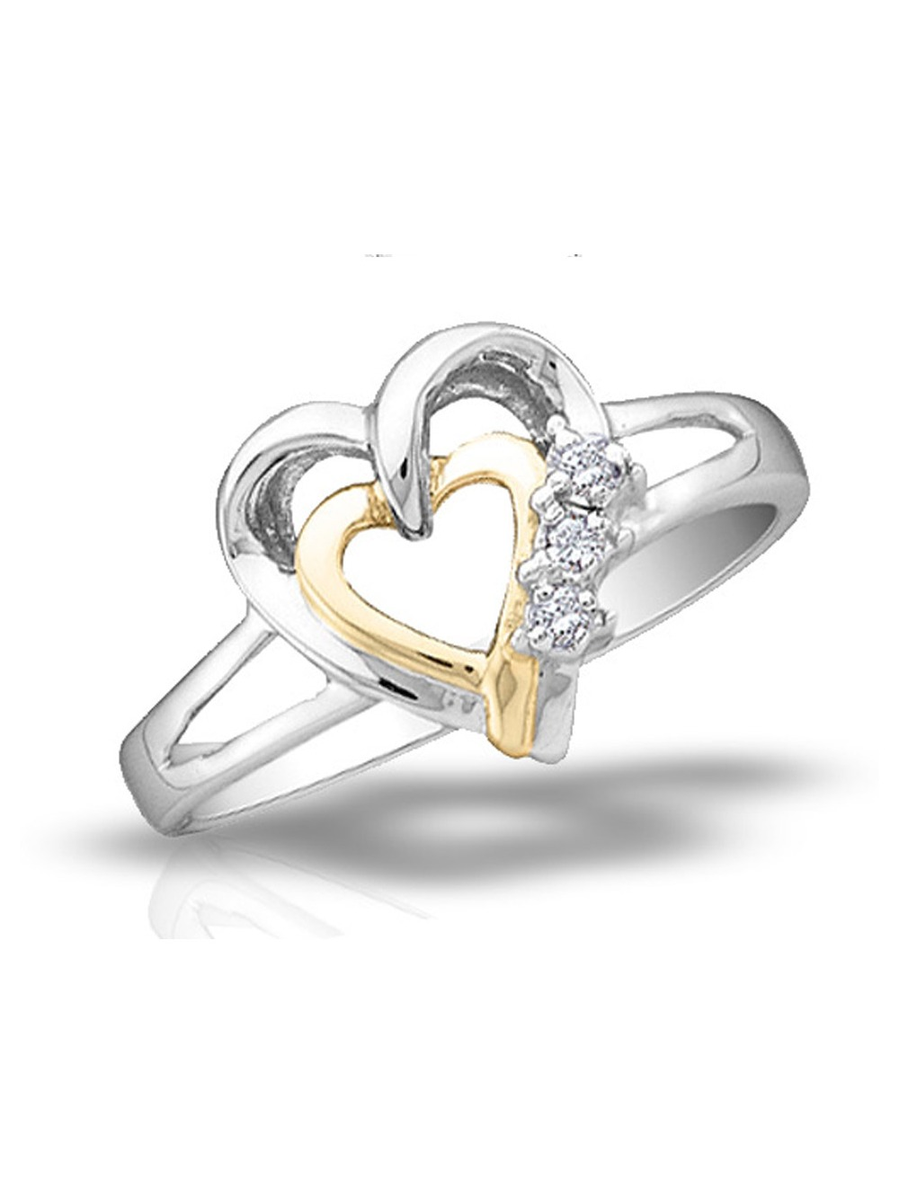 Diamond Heart Ring in Sterling Silver with 14K Yellow Gold Plating