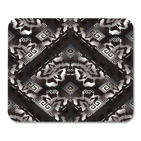Silver Wave Mat (LADDKE Abstract Greek Key Black Silver Geometric 3D Modern Endless Wave Shapes Meander Stripes Rhombus Ornate Mousepad Mouse Pad Mouse Mat 9x10 inch)