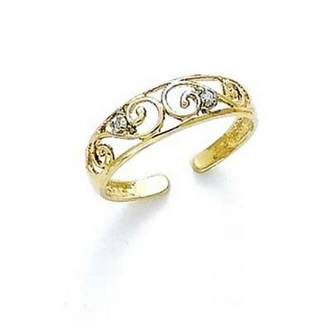 14k Yellow Gold Diamond Scroll Toe Ring - .02 dwt