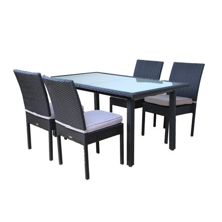 Broyerk Outdoor Dining Set Gl Table And Four Chairs Patio Furniture