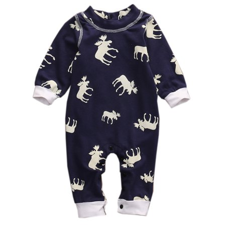 StylesILove Infant Baby Boy Deer Print Long Sleeve Cotton Romper Pajamas Outfit (90/6-12 Months) (Long Sleeve Print Romper)