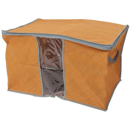 Blanket Pillows Quilts Clothes Beddings Storage Bag Container Orange 58x35x40cm