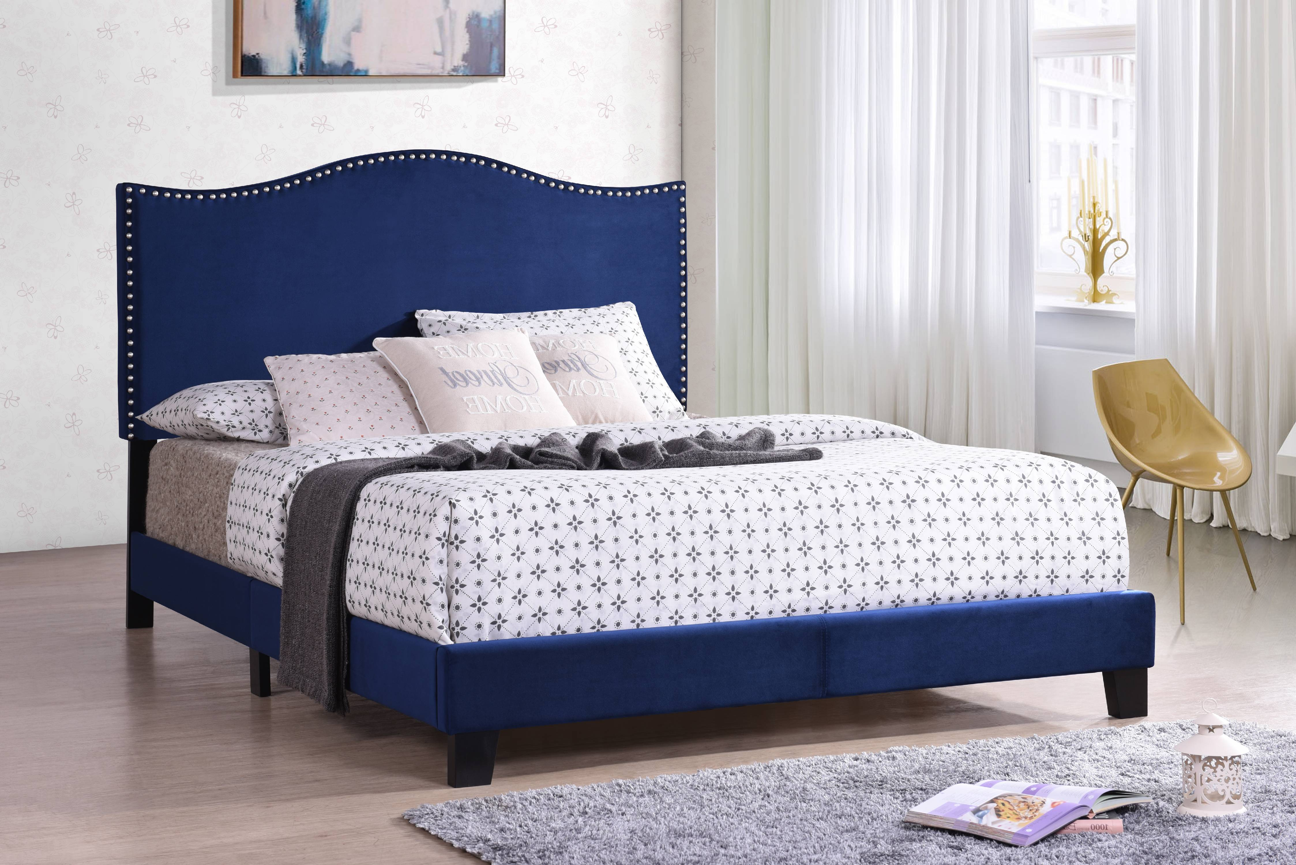 Skye Full Size Blue Velvet Nailhead Transitional Upholstered Panel Bed With Solid Wood Legs (Headboard, Footboard,... by Pilaster Designs