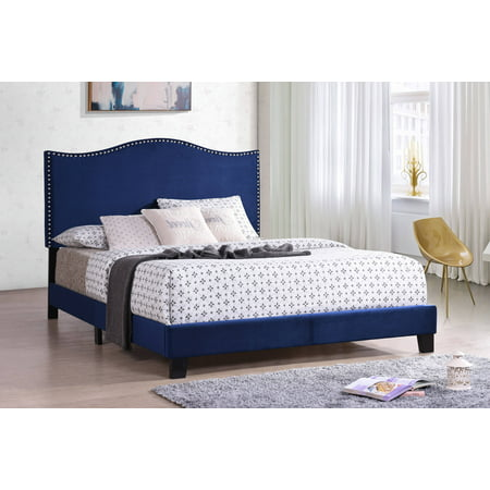 Skye Upholstered Panel Bed, Blue Velvet, Full, With Solid Wood Legs, Nailhead Headboard, Footboard, Rails, (Full Slat Panel Bed)
