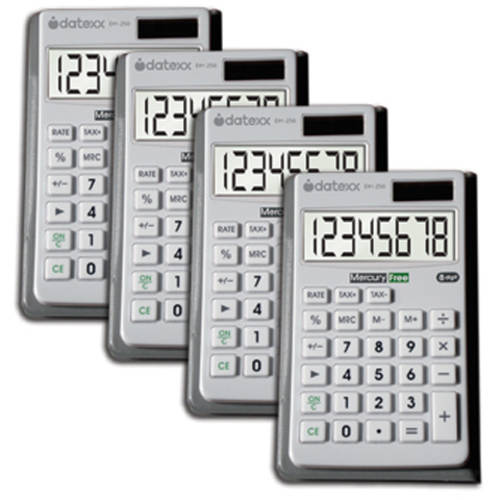 Datexx Hybrid Power Wallet Calculators, 4-Pack
