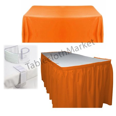 POLYESTER PLEATED TABLE SET SKIRT with clips 14' Ft. + clip + Topper Media DAY