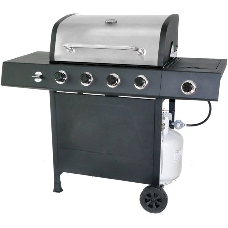 RevoAce 4-Burner LP Gas Grill with Side Burner, Stainless (Solaire Stainless Steel Portable Grill)