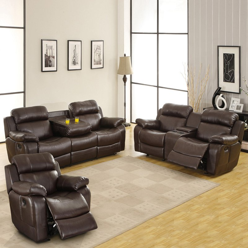 Weston Home Darrin Leather Reclining Sofa Set with Console - Brown & Weston Home Darrin Leather Reclining Sofa Set with Console - Brown ... islam-shia.org