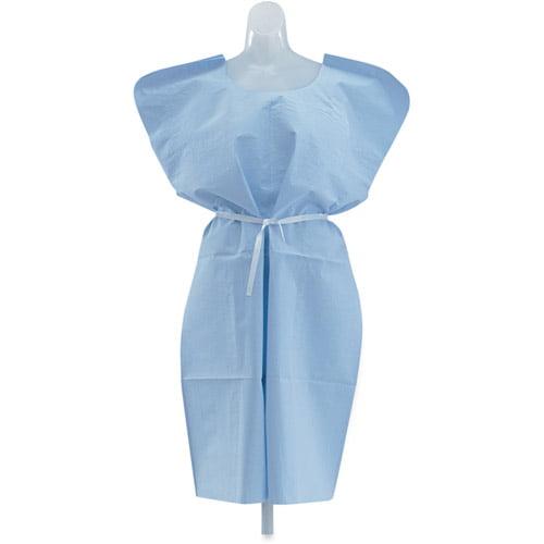 Medline 3-Ply Disposable Patient Gowns, Blue, 50 count