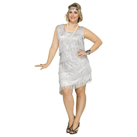 Shimmery Flapper Adult Costume Silver - Plus Size 2X - Flapper Dress Plus Size Cheap