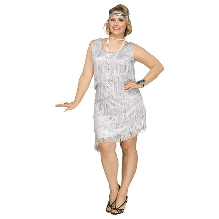Plus Size Flapper Costume 3x (Shimmery Flapper Adult Costume Silver - Plus Size)
