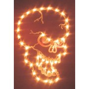 Impact Innovations Lighted Small Skull Silhouette Halloween Decoration Clear/Orange