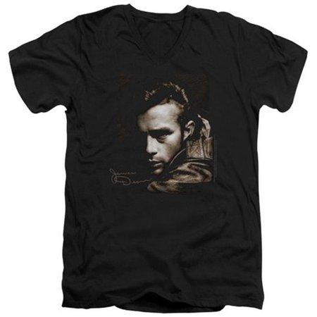Dean-Brown Leather - Short Sleeve Adult 30-1 Tee V-Neck - Black, Large