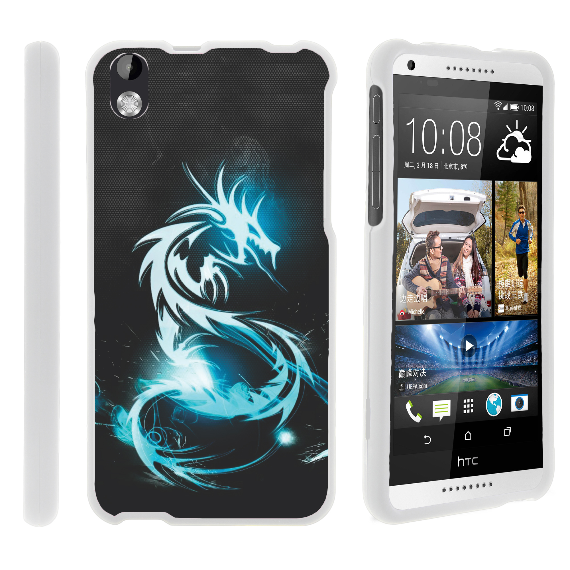 HTC Desire 816, [SNAP SHELL][White] 2 Piece Snap On Rubberized Hard White Plastic Cell Phone Case with Exclusive Art - Demon Cyborg