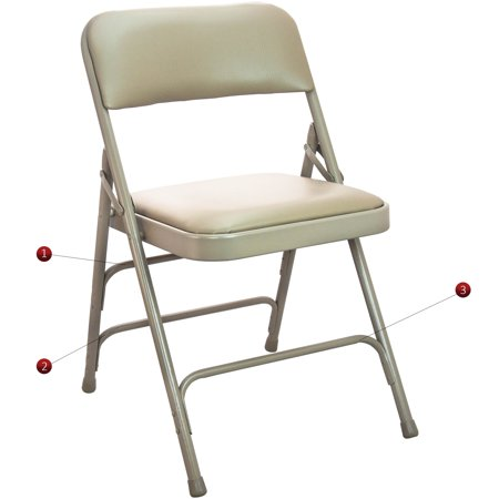 Advantage Series 4pk Triple Braced And Double Hinged Vinyl Upholstered Metal Folding Chair With 1