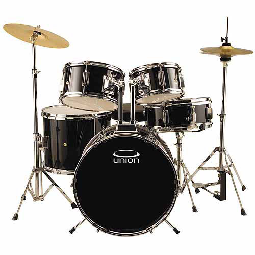 Union UJ5 5-Piece Junior Drumset w/ Hardware, Cymbals & Throne - Black