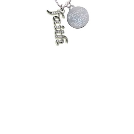 Silvertone Crystal Script ''Faith'' Stronger Braver Smarter Engraved Necklace - Faith Necklace