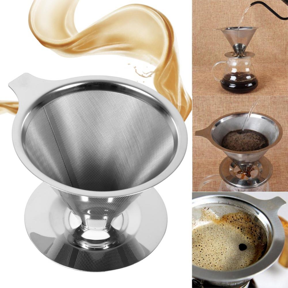1Pc Stainless Steel Pour Over Coffee Dripper Double Layer Mesh Filter Cup Stand Home Office Use, Stainless Mesh Filter Cup, Stainless Coffee Dripper