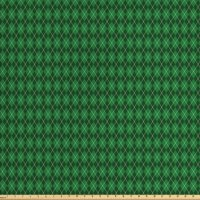Irish Fabric by The Yard, St. Patrick's Day Celebration Inspired Vintage Pattern Argyle Tartan Dots, Decorative Fabric for Upholstery and Home Accents, by Ambesonne