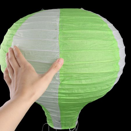 Household Party Paper Lightless Hanging DIY Decor Hot Air Balloon Lantern Green White 16 Inch Dia - image 5 of 6