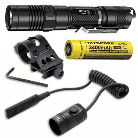 Combo: Nitecore MH12GT Rechargeable Flashlight w/Offset Gun Mount  and  RSW1 Pressure Switch