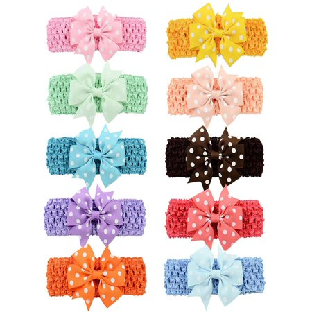 10 Pieces Hair Bows, Aniwon Alligator Clips Pins Barrettes Headband Tie Wrap Rope Accessories for Baby Girls