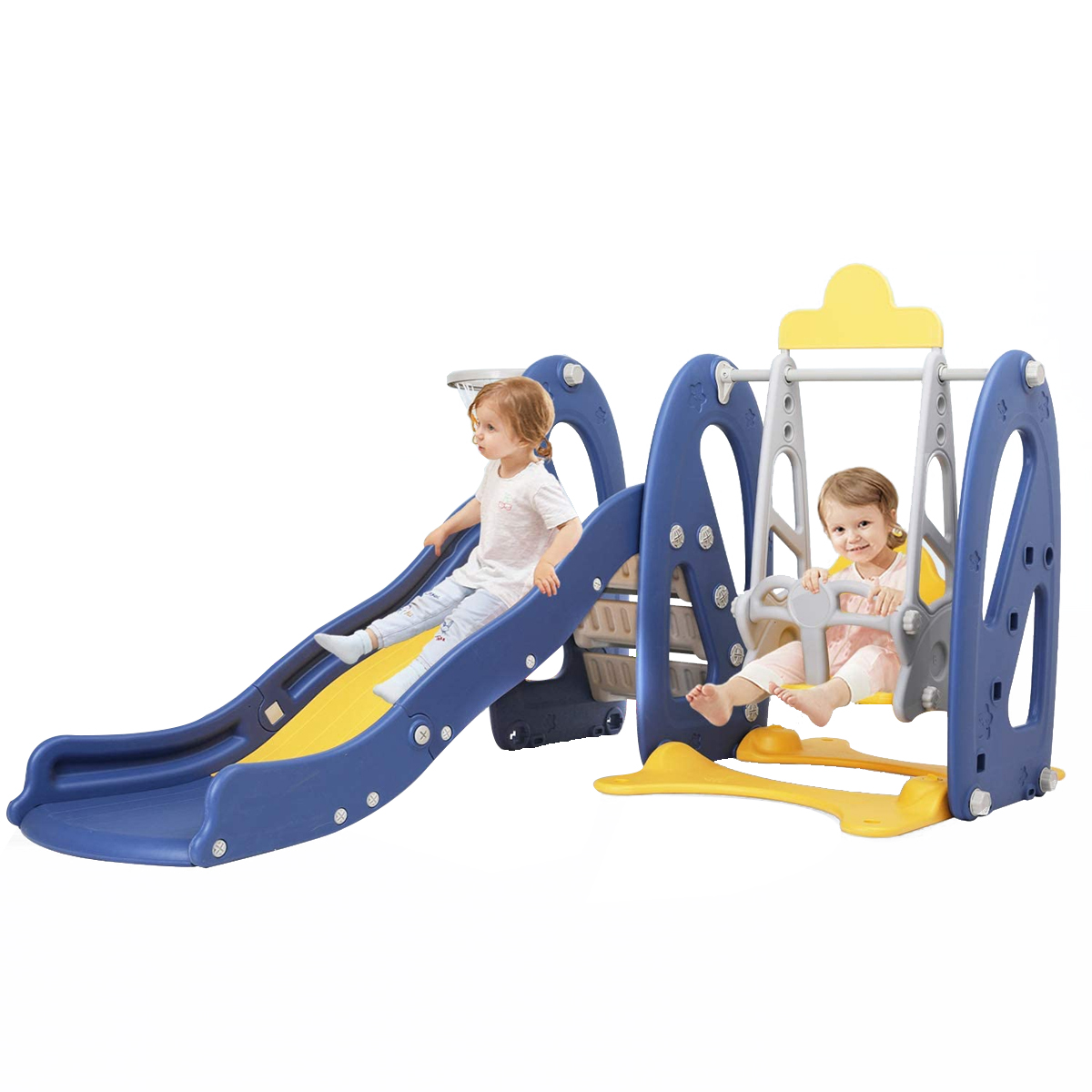 Blue Playground center Toddler Mountaineering Toy with Basketball Hoop for Indoor//Outdoor 4 in1 Children Climbing Frame Playset with Music Player Garden Backyard Slide /& Swing Set for Kids