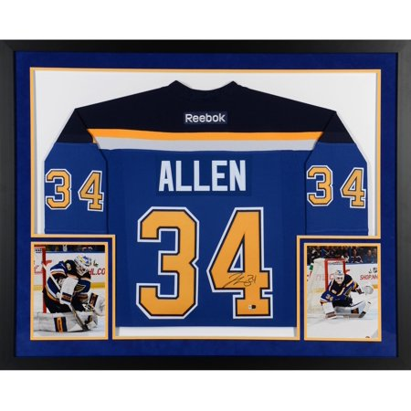 (Jake Allen St. Louis Blues SM Deluxe Framed Autographed Blue Reebok Premier Jersey - Fanatics Authentic Certified)