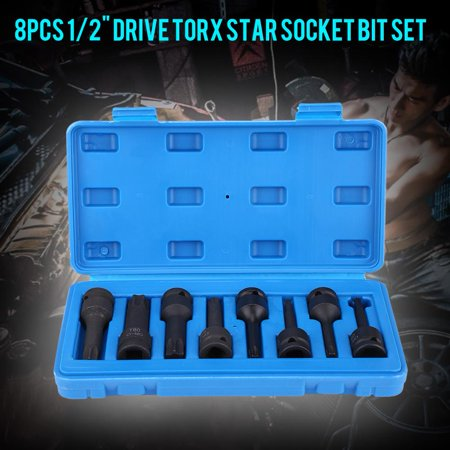 Hilitand Star Bit Socket Set 8Pcs 1/2  Inch Drive Torx Star Socket Bit Set T30, T40, T45, T50, T55, T60, T70,