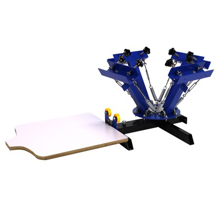 4 Color 1 Station Silk Screen Commercial Printing Press Machine Blue NS401