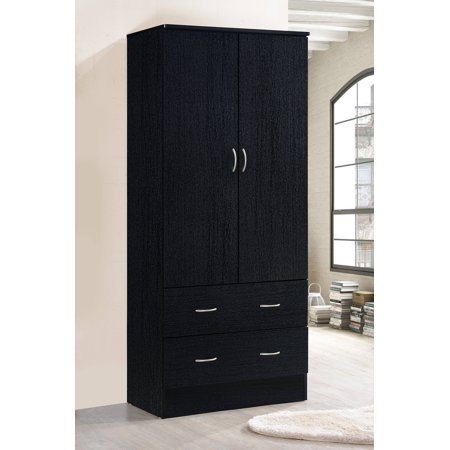 Hodedah Two Door Wardrobe with Two Drawers and Hanging Rod, Multiple Colors 2 Door Walnut Armoire
