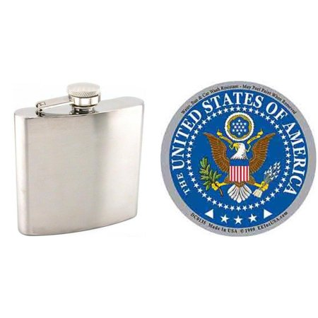 """Stainless Steel Hip Flask 6oz & United States of America Sticker 3 1/4"""""""