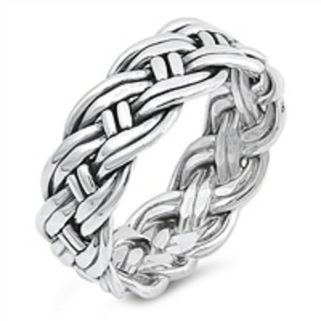 Sterling Silver Rope Braid Band Ring