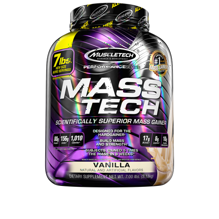 MuscleTech Mass Tech 100% Whey Protein Powder Mass Gainer, Vanilla, 80g Protein, 7lbs,