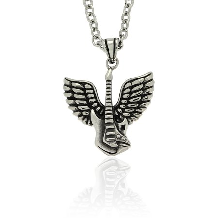 Gemeni Stainless Steel 'Guitar Guardian Angel' Necklace - Guitar Necklaces
