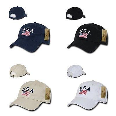 American Flag USA US Patriotic United States of America Polo Baseball Hat Cap-Black