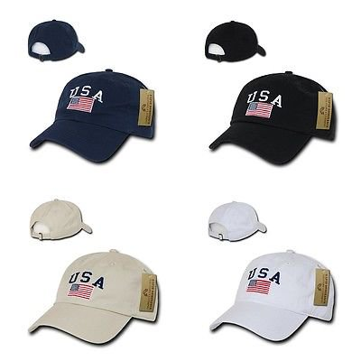 American Flag USA US Patriotic United States of America Polo Baseball Hat Cap-Black