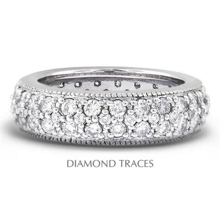 UD-EWB357-6440 Platinum 950 Pave Setting 1.69 Carat Total Natural Diamonds Two Row with Milgrain Eternity Ring 2 Row Pave Diamond