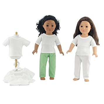 "18 Inch Doll Clothes/Clothing Fits 18"" American Girl Dolls - Value Pack Plain White T-shirts 18"" Outfit I Gift-Boxed"