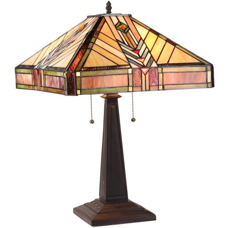 "Chloe Lighting Edward Tiffany-Style 2-Light Mission Table Lamp with 16"" Shade"