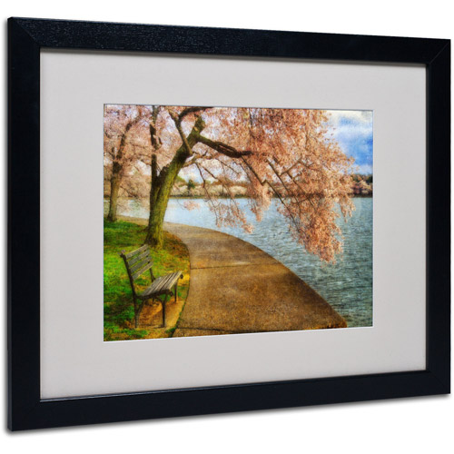 "Trademark Fine Art ""Meet Me At Our Bench"" by Lois Bryan, Black Frame"