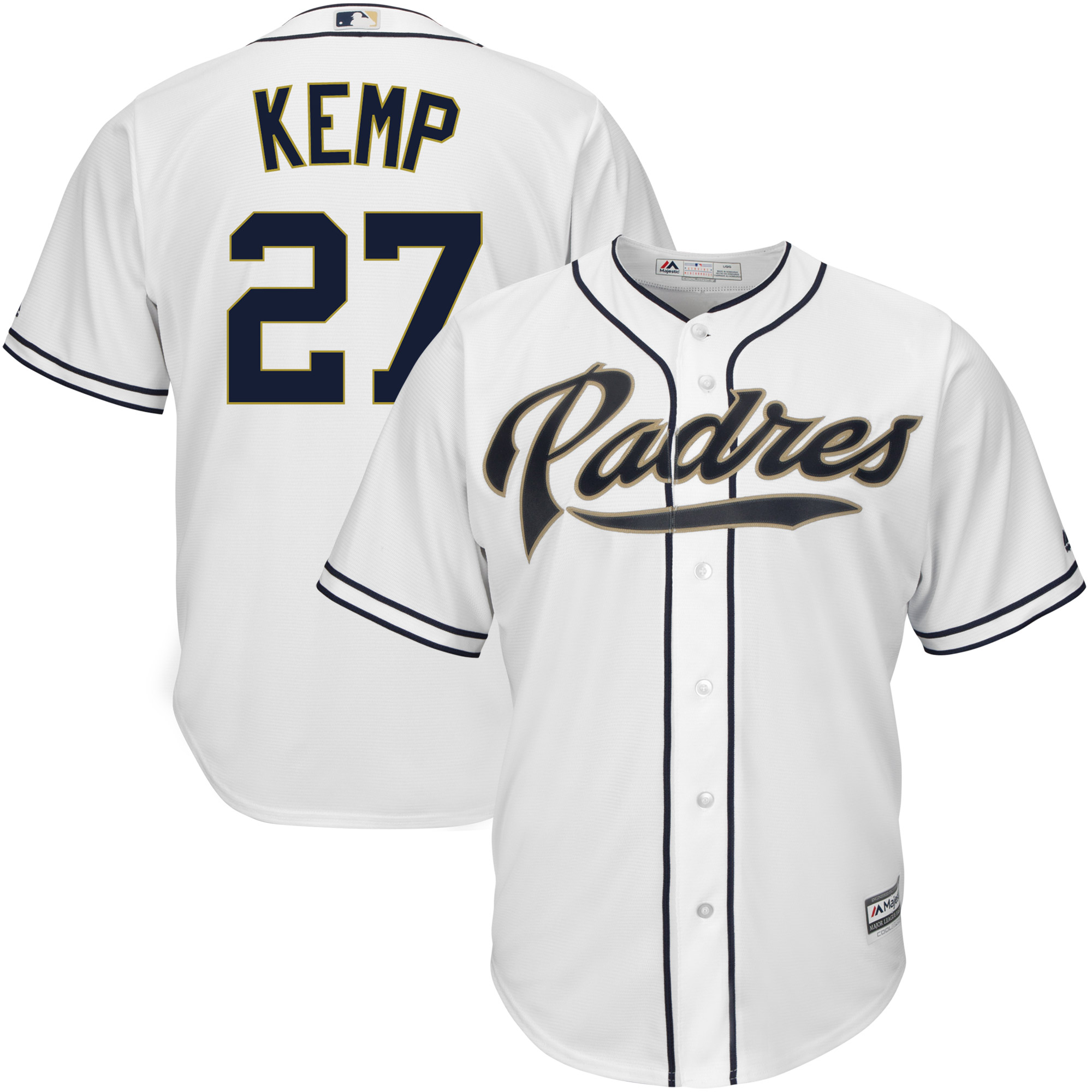 Men's Majestic Matt Kemp White San Diego Padres Big & Tall Official Cool Base Player Jersey