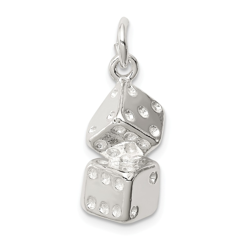 Sterling Silver Large Dice Charm (0.9in long x 0.4in wide)